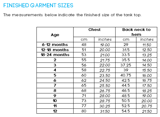 Finished Garment Sizes